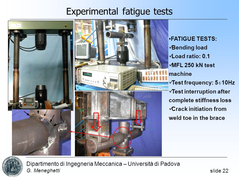 slide 22 Dipartimento di Ingegneria Meccanica – Università di Padova G. Meneghetti Experimental fatigue tests FATIGUE TESTS: Bending load Load ratio: