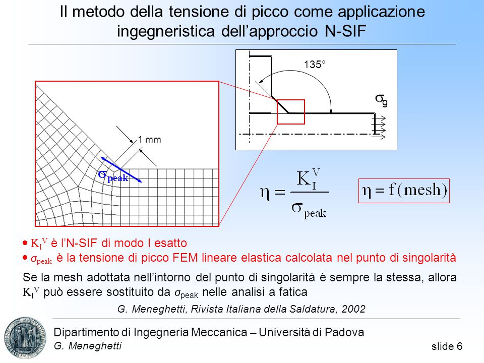 slide 6 Dipartimento di Ingegneria Meccanica – Università di Padova G.
