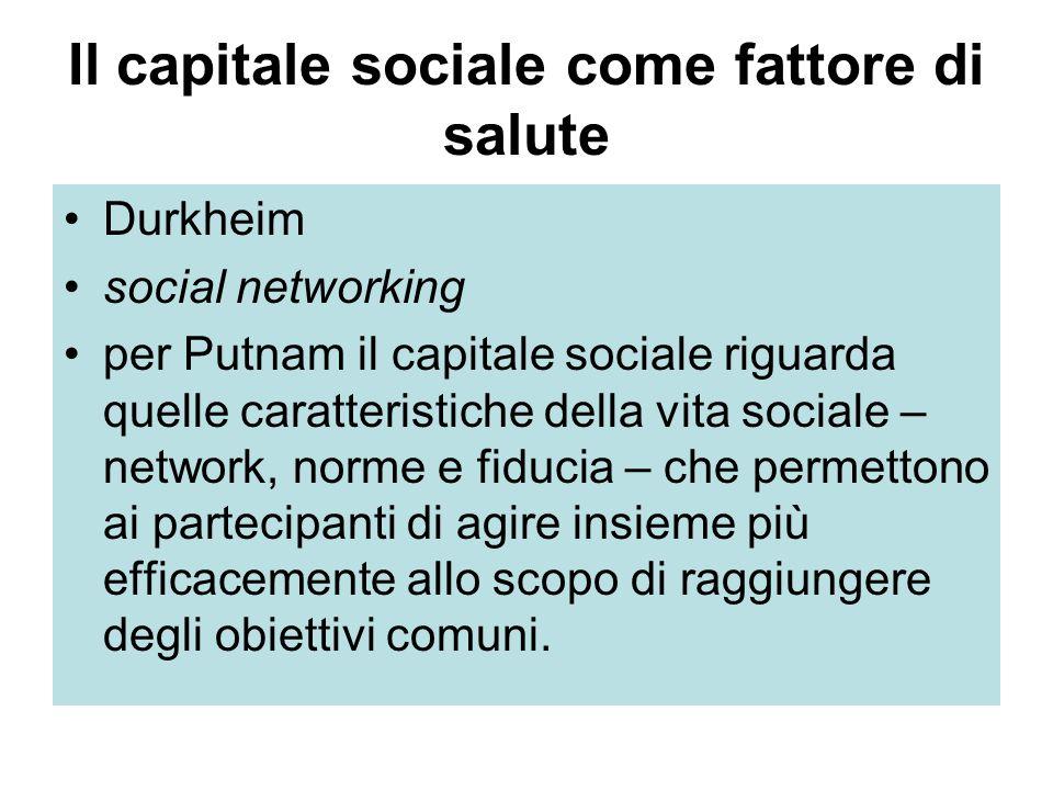 Il capitale sociale come fattore di salute Durkheim social networking per Putnam il capitale sociale riguarda quelle caratteristiche della vita sociale – network, norme e fiducia – che permettono ai partecipanti di agire insieme più efficacemente allo scopo di raggiungere degli obiettivi comuni.