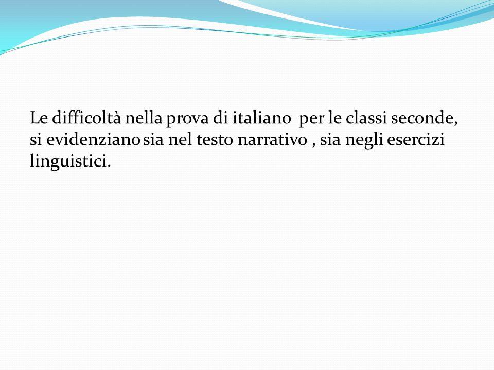Le difficoltà nella prova di italiano per le classi seconde, si evidenziano sia nel testo narrativo, sia negli esercizi linguistici.