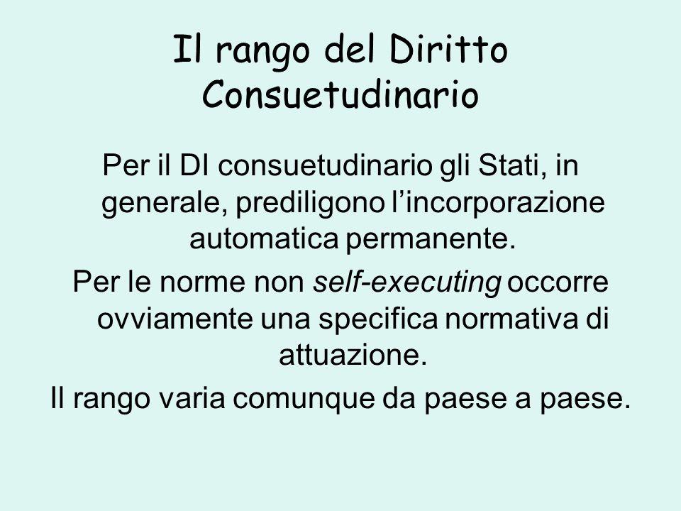 Il rango del Diritto Consuetudinario Per il DI consuetudinario gli Stati, in generale, prediligono l'incorporazione automatica permanente.