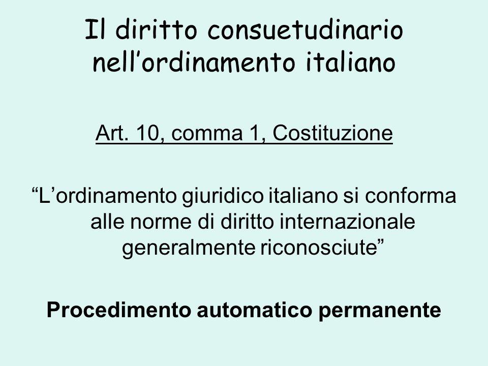 Il diritto consuetudinario nell'ordinamento italiano Art.