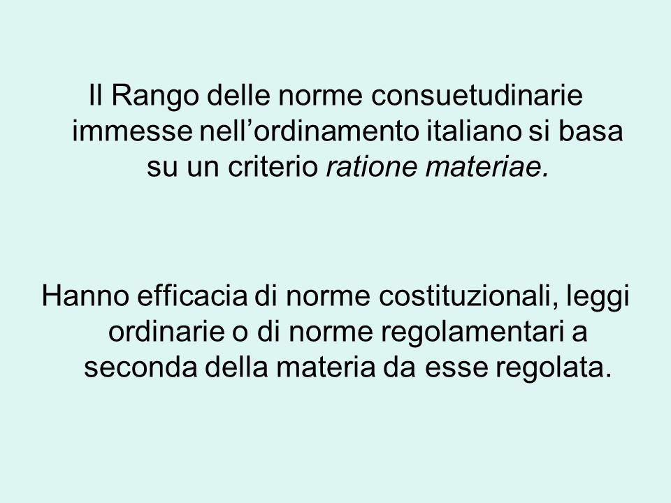 Il Rango delle norme consuetudinarie immesse nell'ordinamento italiano si basa su un criterio ratione materiae.