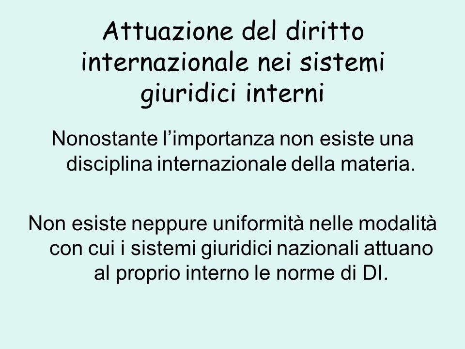 Attuazione del diritto internazionale nei sistemi giuridici interni Nonostante l'importanza non esiste una disciplina internazionale della materia.