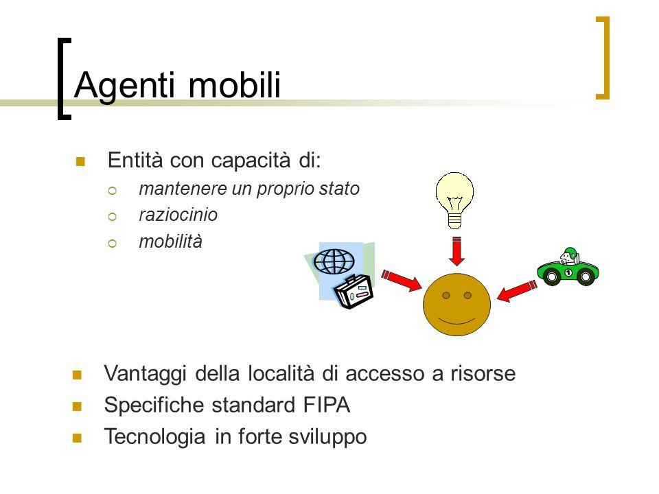 Agenti mobili Entità con capacità di:  mantenere un proprio stato  raziocinio  mobilità Vantaggi della località di accesso a risorse Specifiche standard FIPA Tecnologia in forte sviluppo