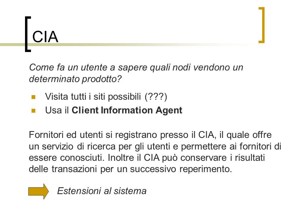 CIA Come fa un utente a sapere quali nodi vendono un determinato prodotto.