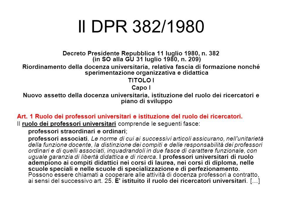 Il DPR 382/1980 Decreto Presidente Repubblica 11 luglio 1980, n.