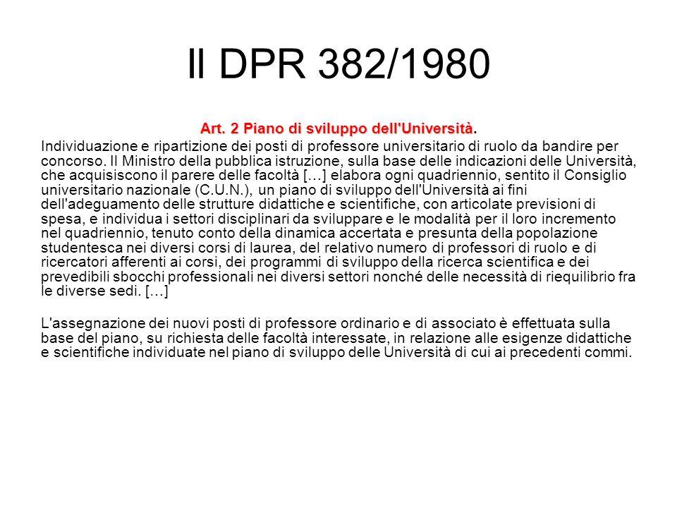 Il DPR 382/1980 Art. 2 Piano di sviluppo dell Università Art.