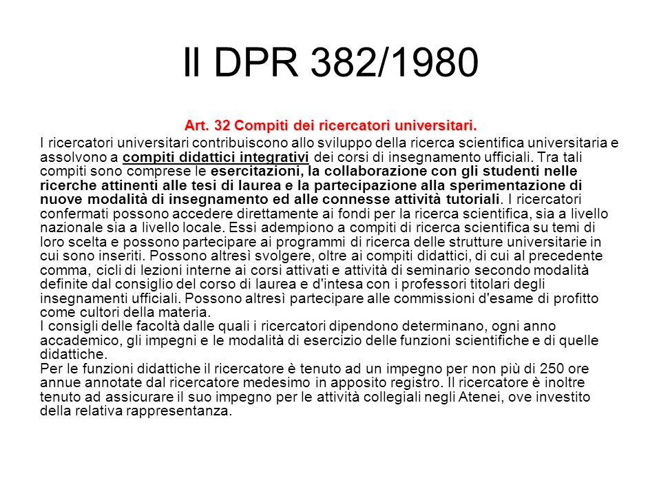 Il DPR 382/1980 Art. 32 Compiti dei ricercatori universitari.