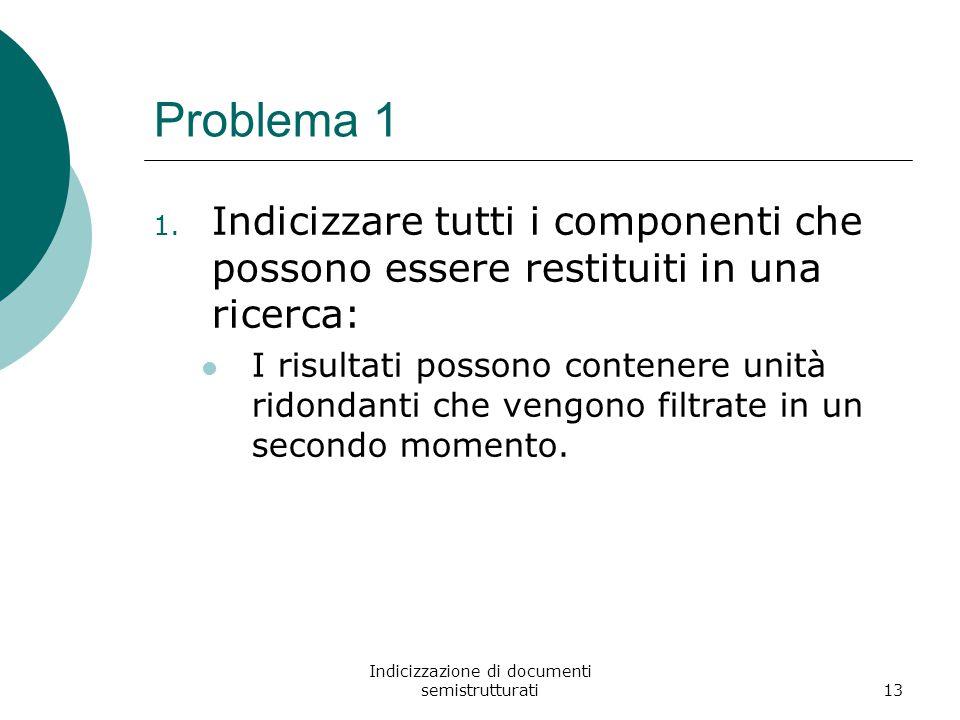 Indicizzazione di documenti semistrutturati13 Problema 1 1.