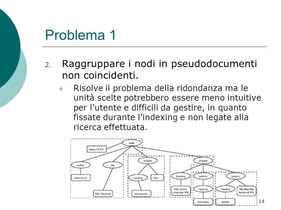 Indicizzazione di documenti semistrutturati14 Problema 1 2.