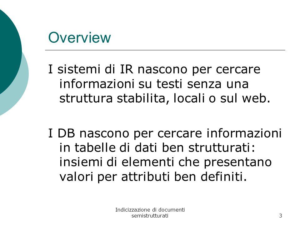 Indicizzazione di documenti semistrutturati3 Overview I sistemi di IR nascono per cercare informazioni su testi senza una struttura stabilita, locali o sul web.