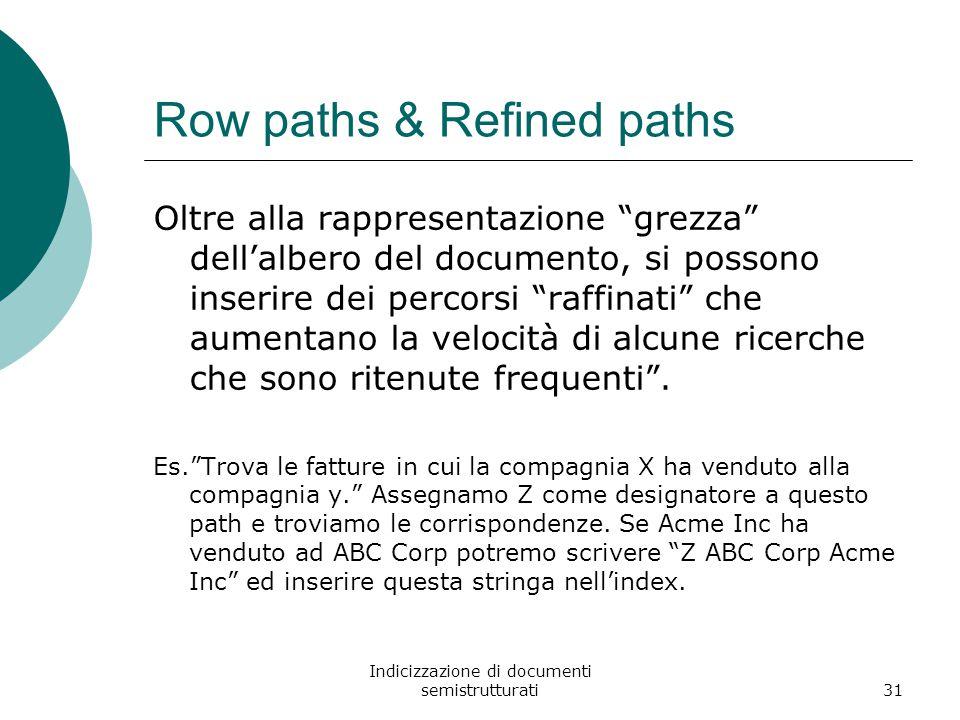 Indicizzazione di documenti semistrutturati31 Row paths & Refined paths Oltre alla rappresentazione grezza dell'albero del documento, si possono inserire dei percorsi raffinati che aumentano la velocità di alcune ricerche che sono ritenute frequenti .