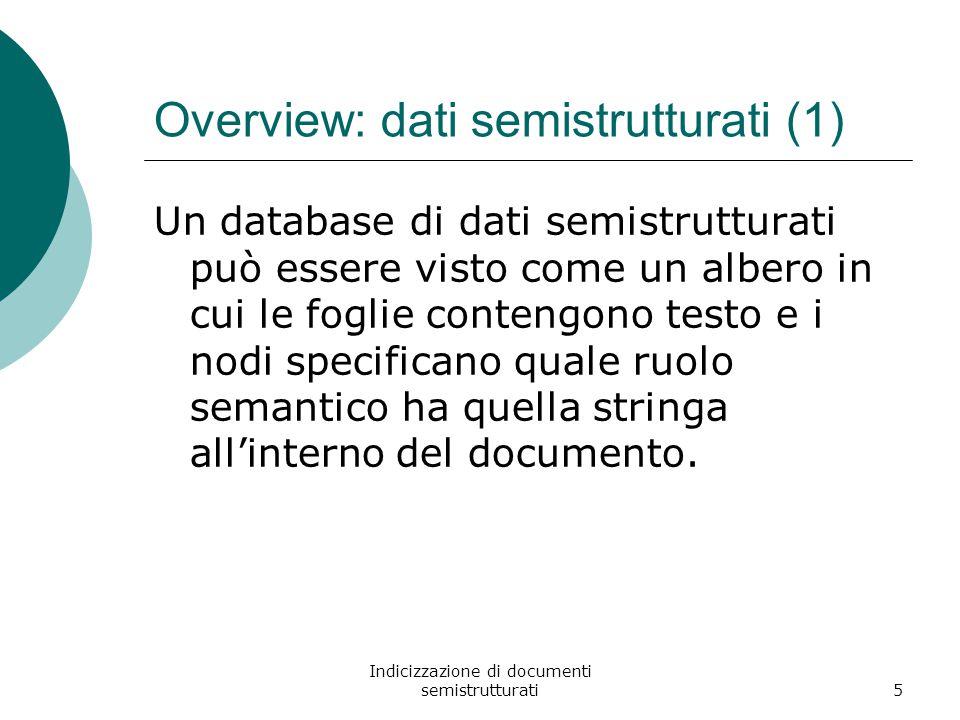 Indicizzazione di documenti semistrutturati5 Overview: dati semistrutturati (1) Un database di dati semistrutturati può essere visto come un albero in cui le foglie contengono testo e i nodi specificano quale ruolo semantico ha quella stringa all'interno del documento.