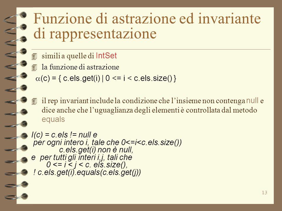 13 Funzione di astrazione ed invariante di rappresentazione 4 simili a quelle di IntSet 4 la funzione di astrazione  (c) = { c.els.get(i) | 0 <= i < c.els.size() } 4 il rep invariant include la condizione che l'insieme non contenga null e dice anche che l'uguaglianza degli elementi è controllata dal metodo equals I(c) = c.els != null e per ogni intero i, tale che 0<=i<c.els.size()) c.els.get(i) non è null, e per tutti gli interi i,j, tali che 0 <= i < j < c.