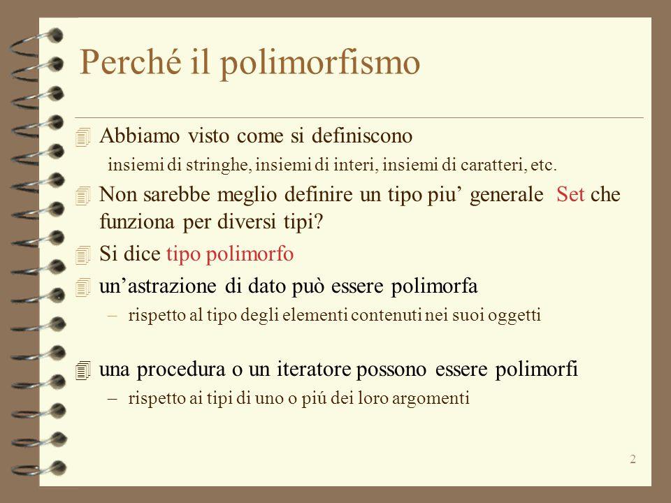 2 Perché il polimorfismo 4 Abbiamo visto come si definiscono insiemi di stringhe, insiemi di interi, insiemi di caratteri, etc.