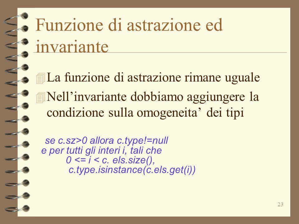 23 Funzione di astrazione ed invariante 4 La funzione di astrazione rimane uguale 4 Nell'invariante dobbiamo aggiungere la condizione sulla omogeneita' dei tipi se c.sz>0 allora c.type!=null e per tutti gli interi i, tali che 0 <= i < c.