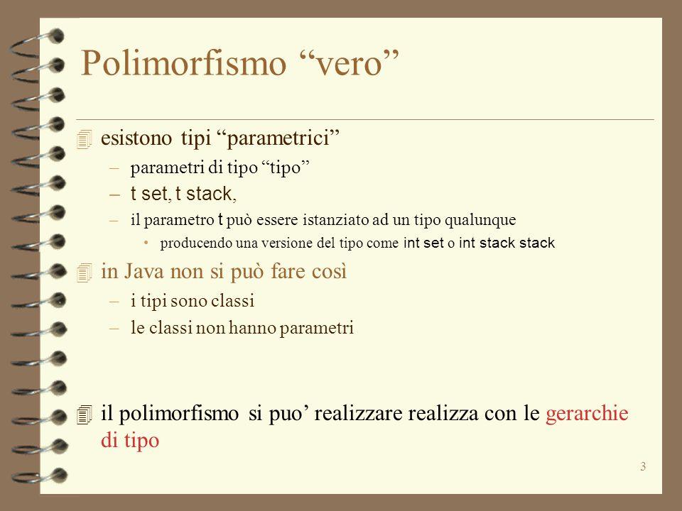 3 Polimorfismo vero 4 esistono tipi parametrici –parametri di tipo tipo –t set, t stack, –il parametro t può essere istanziato ad un tipo qualunque producendo una versione del tipo come int set o int stack stack 4 in Java non si può fare così –i tipi sono classi –le classi non hanno parametri 4 il polimorfismo si puo' realizzare realizza con le gerarchie di tipo