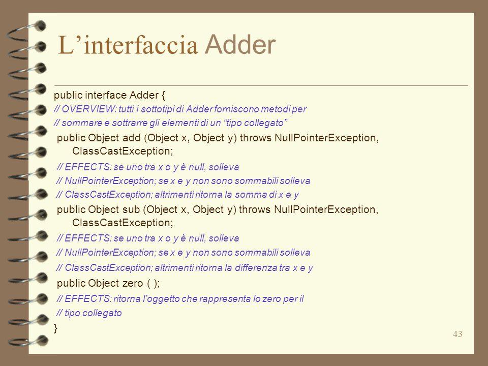 43 L'interfaccia Adder public interface Adder { // OVERVIEW: tutti i sottotipi di Adder forniscono metodi per // sommare e sottrarre gli elementi di un tipo collegato public Object add (Object x, Object y) throws NullPointerException, ClassCastException; // EFFECTS: se uno tra x o y è null, solleva // NullPointerException; se x e y non sono sommabili solleva // ClassCastException; altrimenti ritorna la somma di x e y public Object sub (Object x, Object y) throws NullPointerException, ClassCastException; // EFFECTS: se uno tra x o y è null, solleva // NullPointerException; se x e y non sono sommabili solleva // ClassCastException; altrimenti ritorna la differenza tra x e y public Object zero ( ); // EFFECTS: ritorna l'oggetto che rappresenta lo zero per il // tipo collegato }