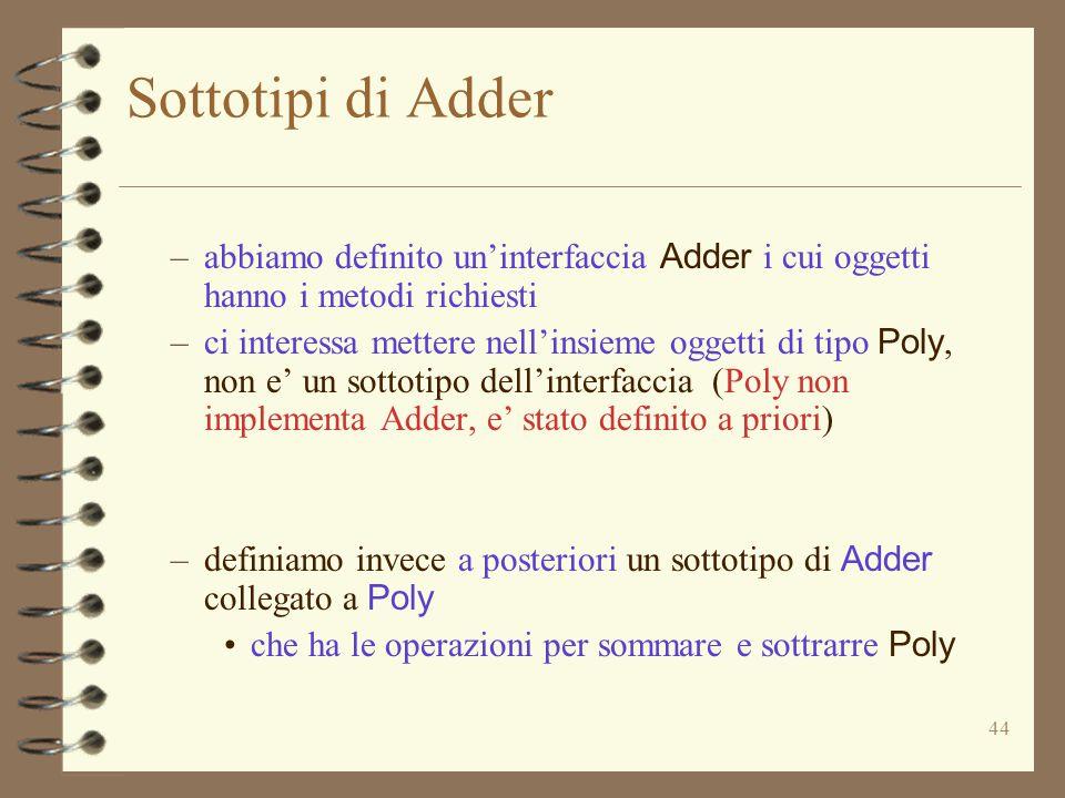 44 Sottotipi di Adder –abbiamo definito un'interfaccia Adder i cui oggetti hanno i metodi richiesti –ci interessa mettere nell'insieme oggetti di tipo Poly, non e' un sottotipo dell'interfaccia (Poly non implementa Adder, e' stato definito a priori) –definiamo invece a posteriori un sottotipo di Adder collegato a Poly che ha le operazioni per sommare e sottrarre Poly