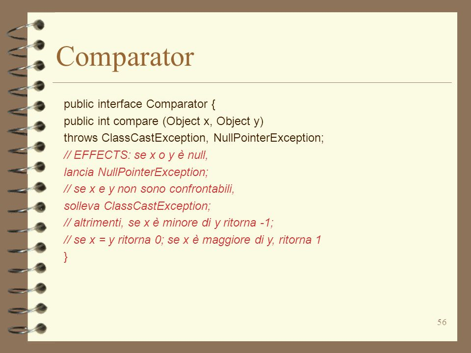 56 public interface Comparator { public int compare (Object x, Object y) throws ClassCastException, NullPointerException; // EFFECTS: se x o y è null,