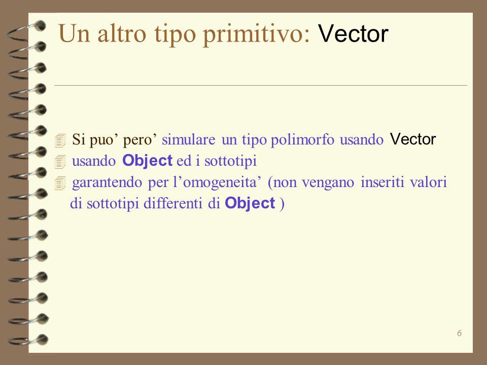 6 Un altro tipo primitivo: Vector  Si puo' pero' simulare un tipo polimorfo usando Vector  usando Object ed i sottotipi 4 garantendo per l'omogeneita' (non vengano inseriti valori di sottotipi differenti di Object )