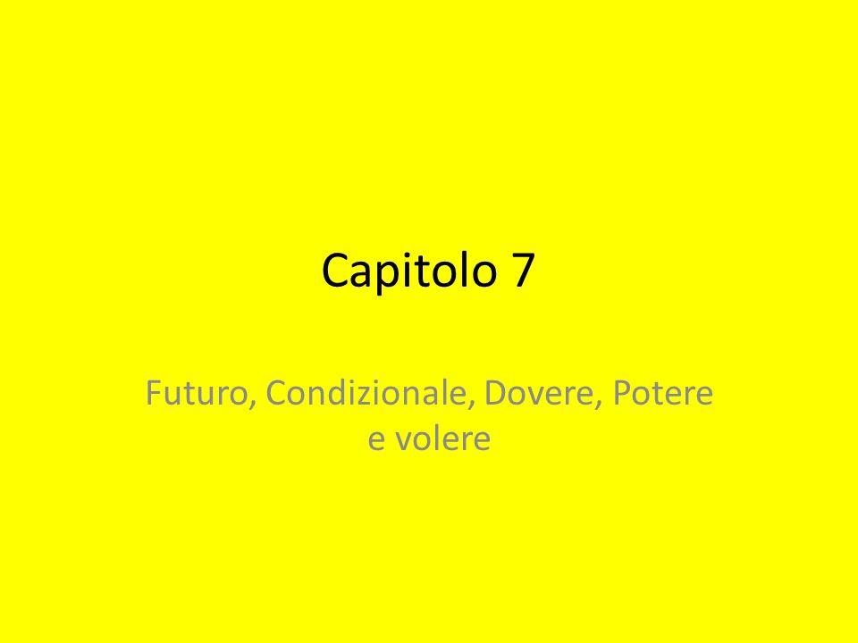 Capitolo 7 Futuro, Condizionale, Dovere, Potere e volere