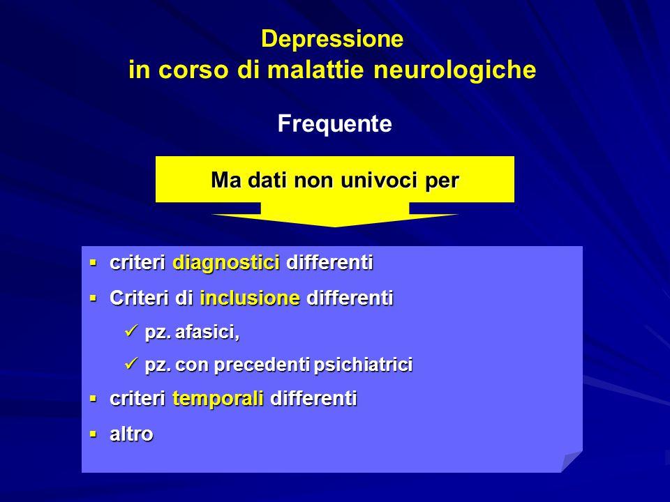 Depressione in corso di malattie neurologiche  criteri diagnostici differenti  Criteri di inclusione differenti pz. afasici, pz. afasici, pz. con pr