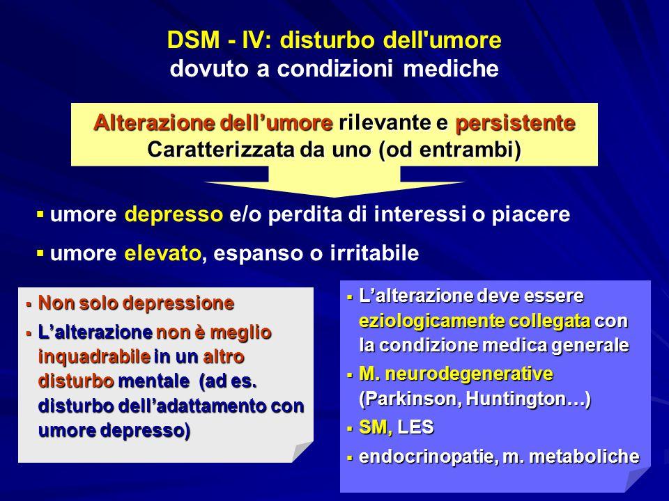 Alterazione dell'umore rilevante e persistente Caratterizzata da uno (od entrambi) DSM - IV: disturbo dell'umore dovuto a condizioni mediche   umore