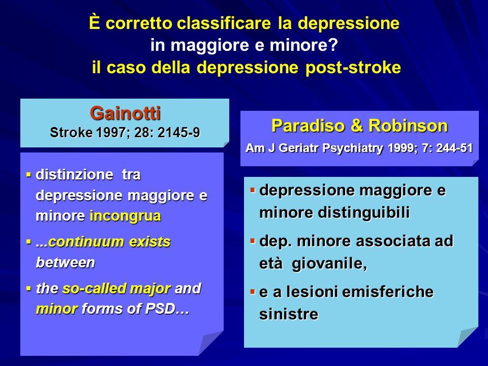  distinzione tra depressione maggiore e minore incongrua ...continuum exists between  the so-called major and minor forms of PSD… Gainotti Stroke 1