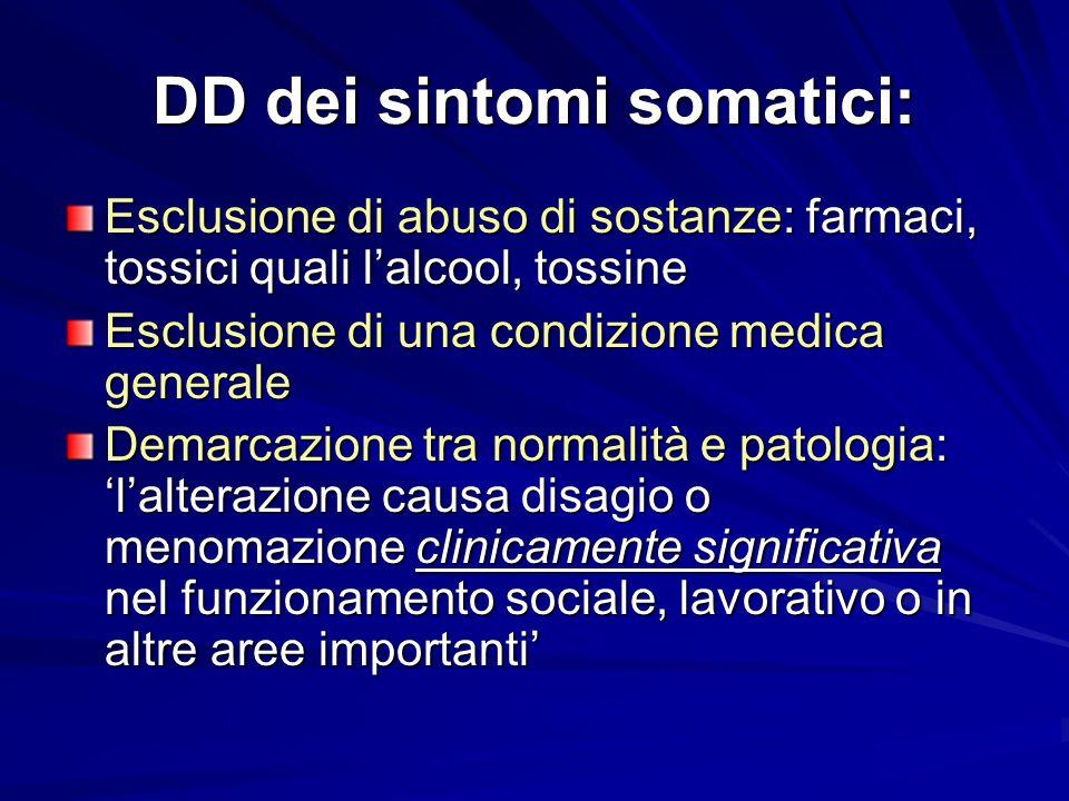DD dei sintomi somatici: Esclusione di abuso di sostanze: farmaci, tossici quali l'alcool, tossine Esclusione di una condizione medica generale Demarc
