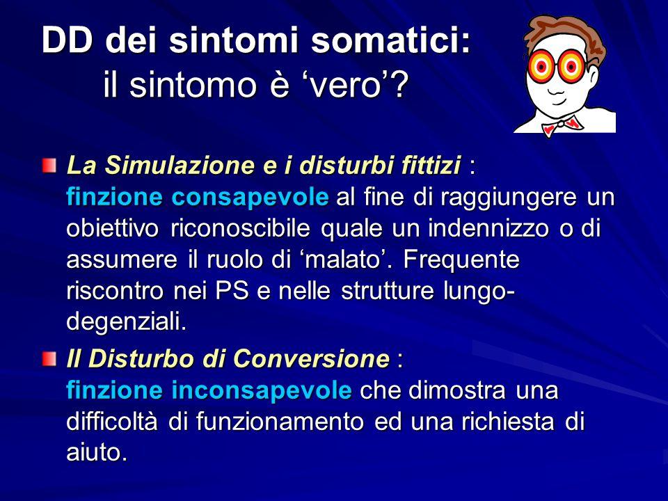 DD dei sintomi somatici: il sintomo è 'vero'? La Simulazione e i disturbi fittizi : finzione consapevole al fine di raggiungere un obiettivo riconosci