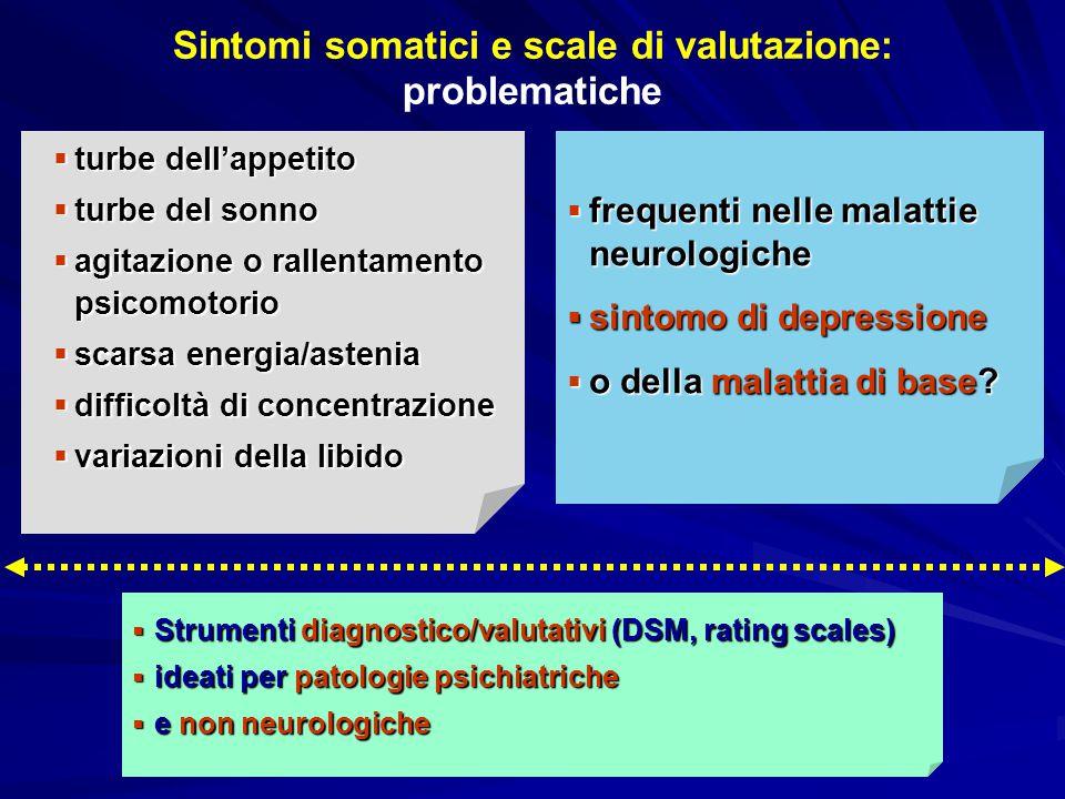 Sintomi somatici e scale di valutazione: problematiche  frequenti nelle malattie neurologiche  sintomo di depressione  o della malattia di base? 