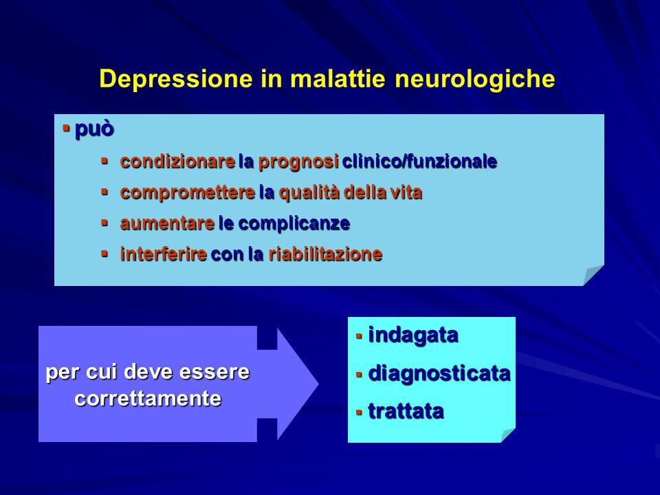 Depressione in malattie neurologiche per cui deve essere correttamente  indagata  diagnosticata  trattata  può  condizionare la prognosi clinico/