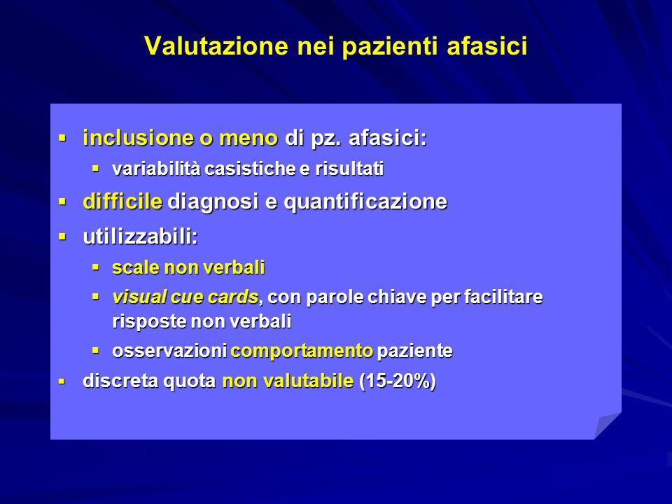 Valutazione nei pazienti afasici  inclusione o meno di pz. afasici:  variabilità casistiche e risultati  difficile diagnosi e quantificazione  uti