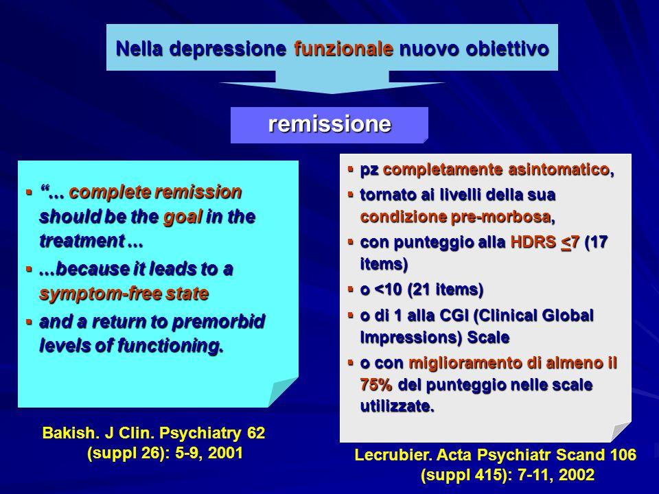 "Nella depressione funzionale nuovo obiettivo  ""... complete remission should be the goal in the treatment... ...because it leads to a symptom-free s"