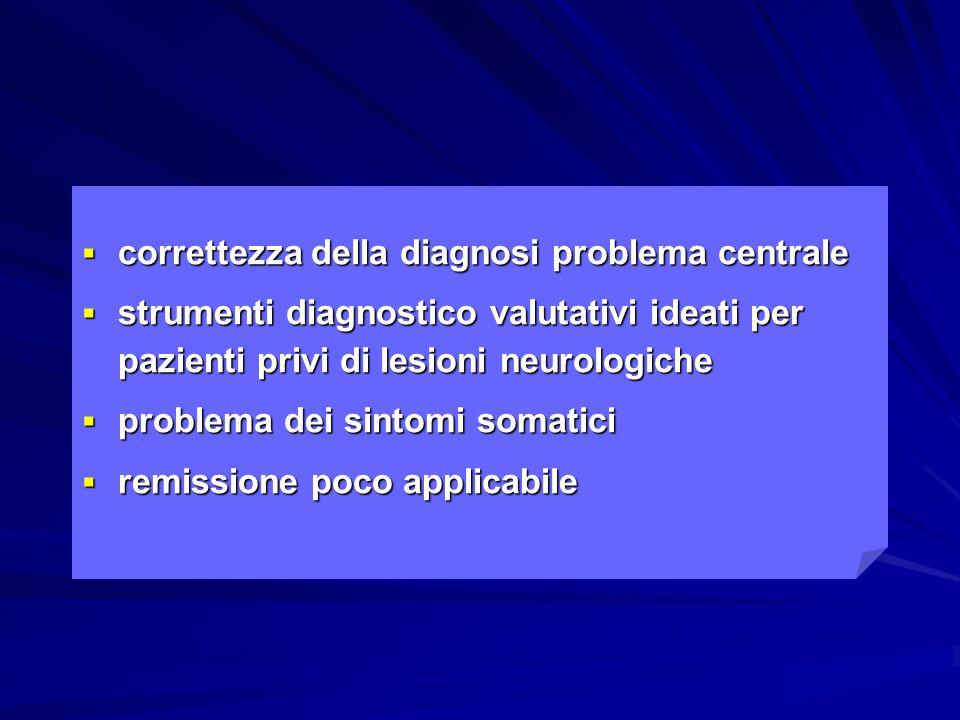  correttezza della diagnosi problema centrale  strumenti diagnostico valutativi ideati per pazienti privi di lesioni neurologiche  problema dei sin