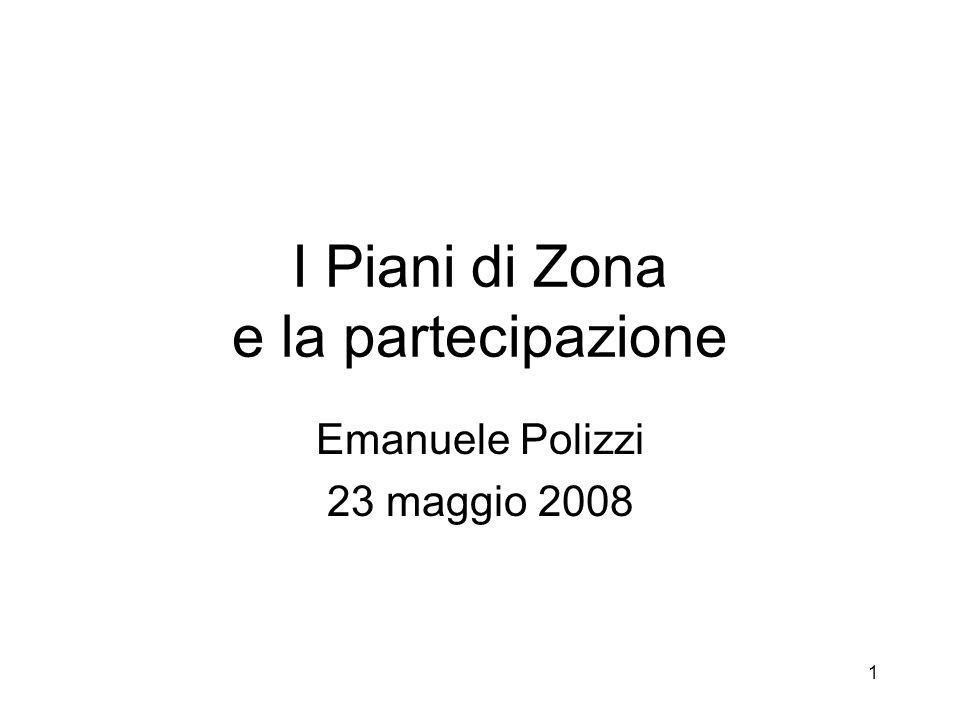 1 I Piani di Zona e la partecipazione Emanuele Polizzi 23 maggio 2008