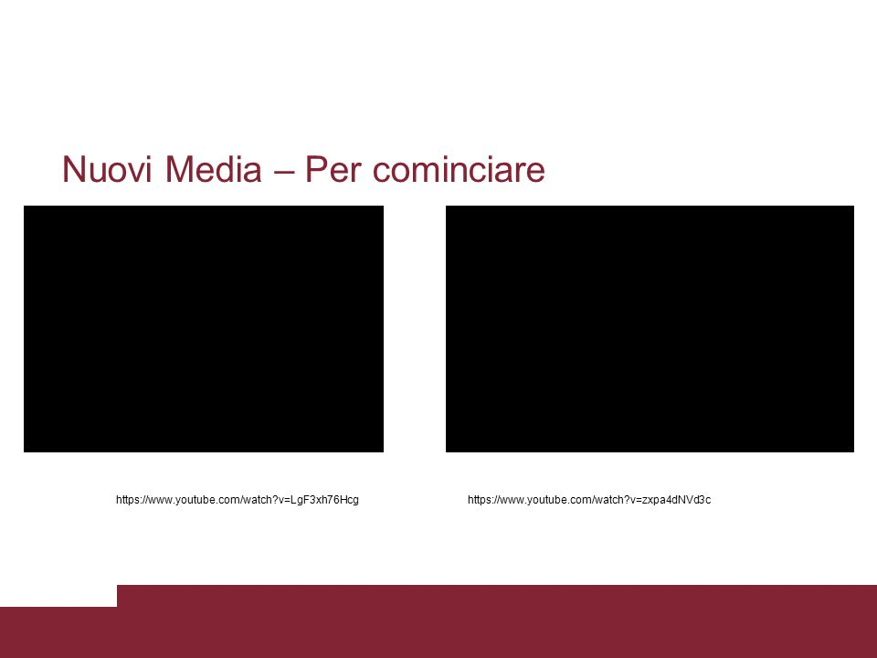 Nuovi Media – Per cominciare https://www.youtube.com/watch?v=LgF3xh76Hcghttps://www.youtube.com/watch?v=zxpa4dNVd3c