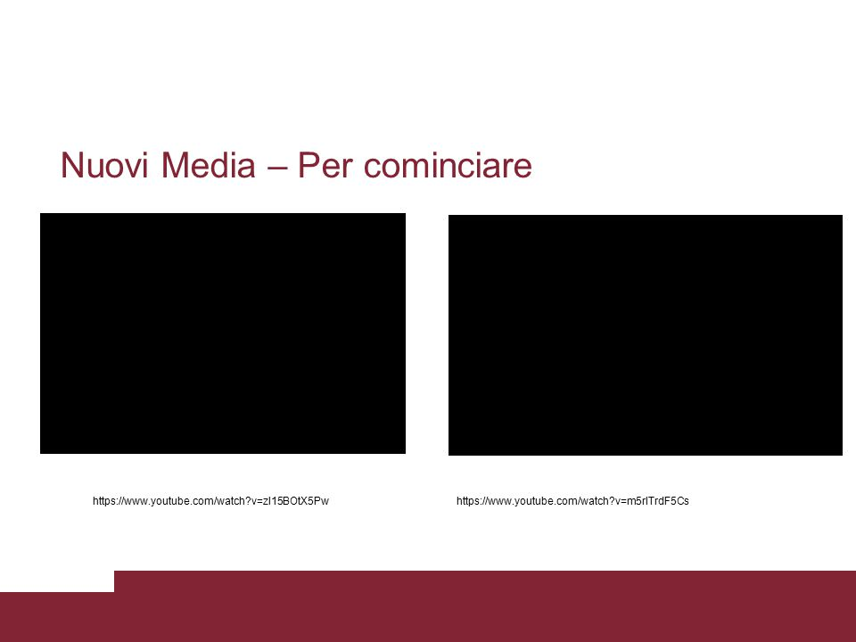 Nuovi Media – Per cominciare https://www.youtube.com/watch?v=zl15BOtX5Pwhttps://www.youtube.com/watch?v=m5rlTrdF5Cs