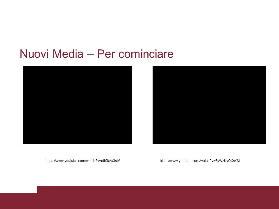 Nuovi Media – Per cominciare https://www.youtube.com/watch?v=off08As3siMhttps://www.youtube.com/watch?v=6yWzKvQXsYM
