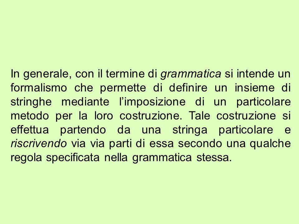 In generale, con il termine di grammatica si intende un formalismo che permette di definire un insieme di stringhe mediante l'imposizione di un particolare metodo per la loro costruzione.