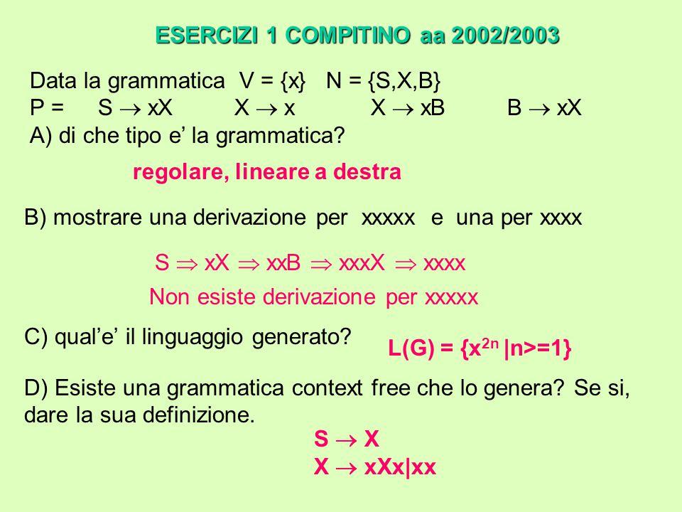Data la grammatica V = {x} N = {S,X,B} P = S  xXX  xX  xBB  xX A) di che tipo e' la grammatica.