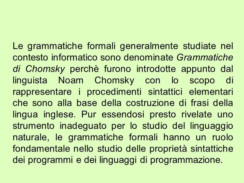 Grammatiche di tipo 3 Queste grammatiche, dette anche regolari, ammettono produzioni del tipo: Il termine regolare deriva dal fatto che tali linguaggi sono rappresentabili per mezzo di espressioni regolari.