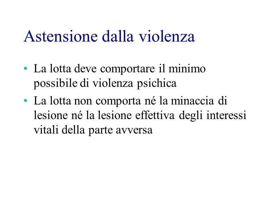 Astensione dalla violenza La lotta deve comportare il minimo possibile di violenza psichica La lotta non comporta né la minaccia di lesione né la lesione effettiva degli interessi vitali della parte avversa