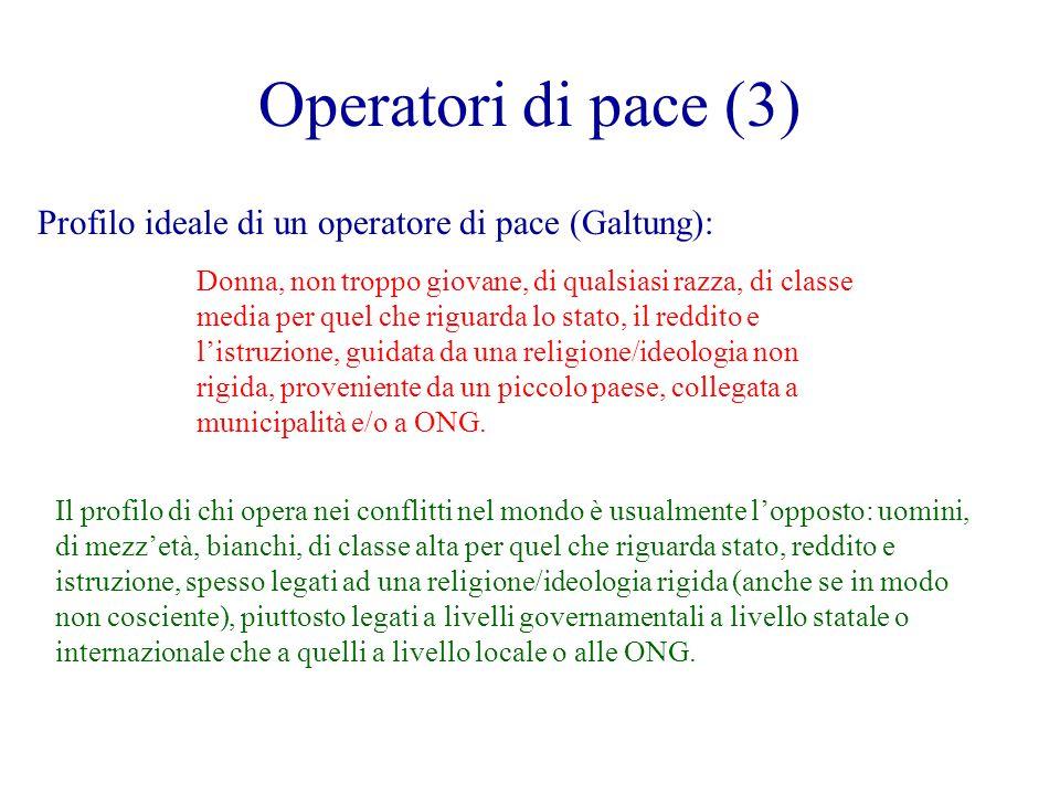 Operatori di pace (3) Profilo ideale di un operatore di pace (Galtung): Donna, non troppo giovane, di qualsiasi razza, di classe media per quel che riguarda lo stato, il reddito e l'istruzione, guidata da una religione/ideologia non rigida, proveniente da un piccolo paese, collegata a municipalità e/o a ONG.