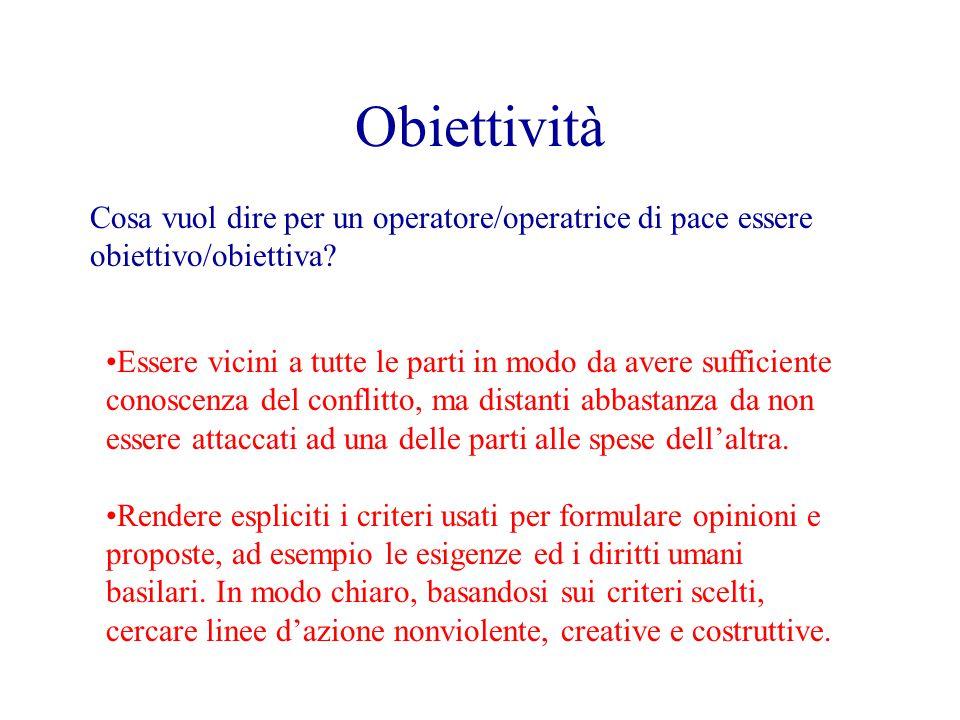 Obiettività Cosa vuol dire per un operatore/operatrice di pace essere obiettivo/obiettiva.