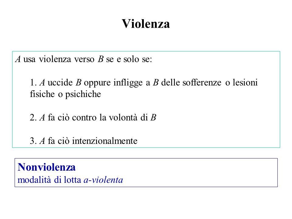 A usa violenza verso B se e solo se: 1.
