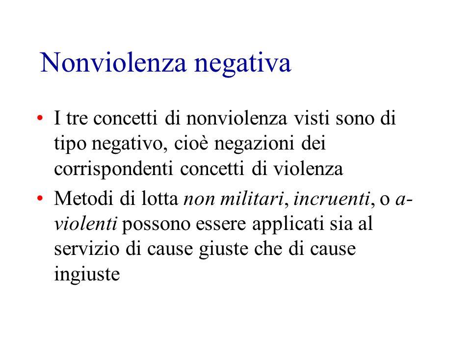 Nonviolenza negativa I tre concetti di nonviolenza visti sono di tipo negativo, cioè negazioni dei corrispondenti concetti di violenza Metodi di lotta non militari, incruenti, o a- violenti possono essere applicati sia al servizio di cause giuste che di cause ingiuste
