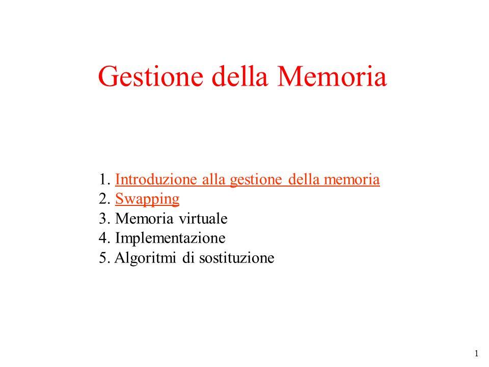 1 1. Introduzione alla gestione della memoria 2. Swapping 3.